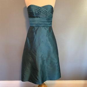 Ann Taylor Teal Silk Formal Strapless Pleats Dress